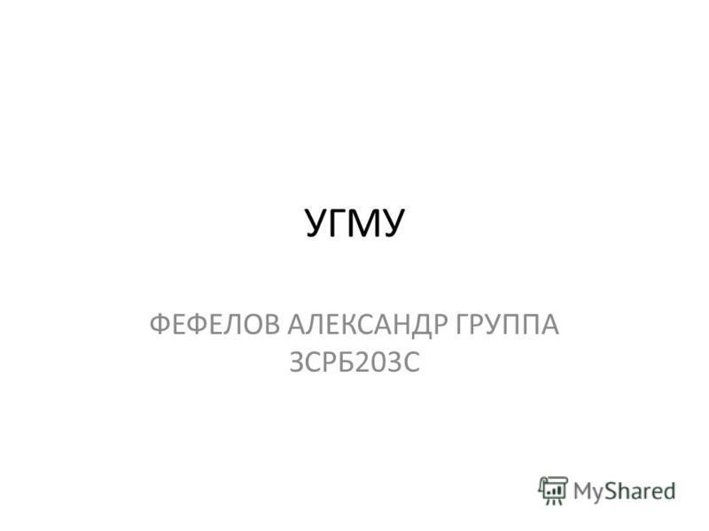 УГМУ ФЕФЕЛОВ АЛЕКСАНДР ГРУППА ЗСРБ203С
