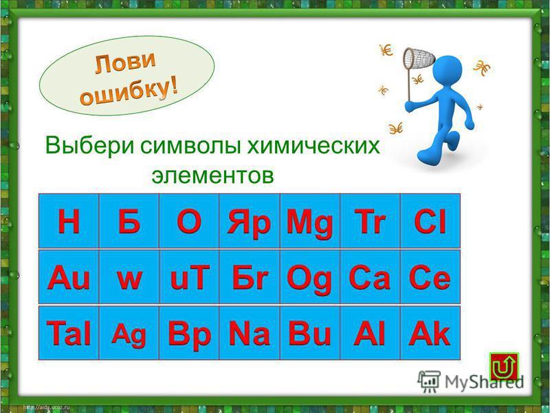 Выбери символы химических элементов