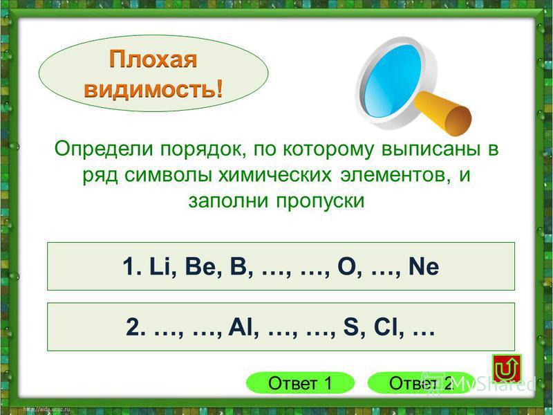 2. Na, Mg, Al, Si, P, S, Cl, Ar 1. Li, Be, B, C, N, O, F, Ne1. Li, Be, B, …, …, O, …, Ne 2. …, …, Al, …, …, S, Cl, … Ответ 1 Определи порядок, по которому выписаны в ряд символы химических элементов, и заполни пропуски Ответ 2
