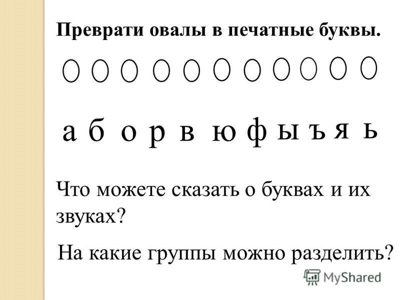 Преврати овалы в печатные буквы. аборвю ф ыъ я ь Что можете сказать о буквах и их звуках? На какие группы можно разделить?