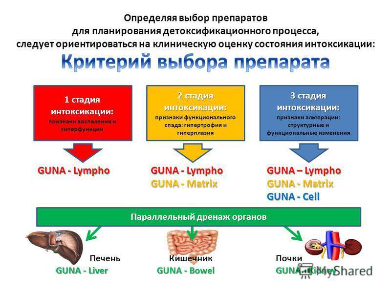 Определяя выбор препаратов для планирования детоксификационного процесса, следует ориентироваться на клиническую оценку состояния интоксикации: 1 стадия интоксикации: 1 стадия интоксикации: признаки воспаления и гиперфункции 2 стадия интоксикации: 2