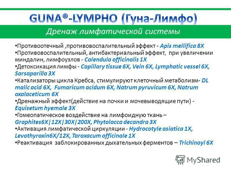 Противоотечный,противовоспалительный эффект - Apis mellifica 8X Противовоспалительный, антибактериальный эффект, при увеличении миндалин, лимфоузлов - Calendula officinalis 1X Детоксикация лимфы - Capillary tissue 6X, Vein 6X, Lymphatic vessel 6X, Sa