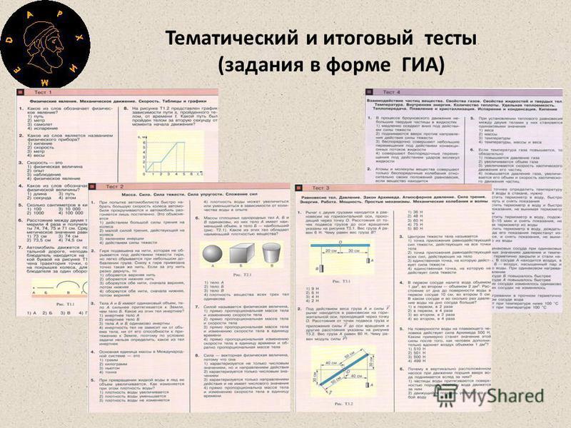 Тематический и итоговый тесты (задания в форме ГИА)