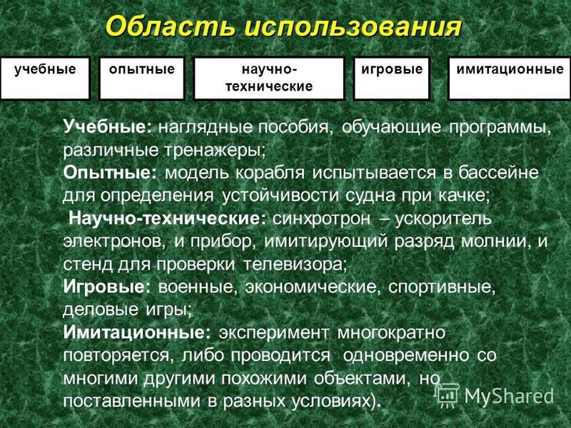 Классификация по области использования.