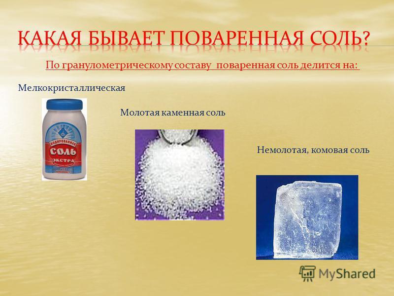 Мелкокристаллическая Молотая каменная соль Немолотая, комовая соль По гранулометрическому составу поваренная соль делится на: