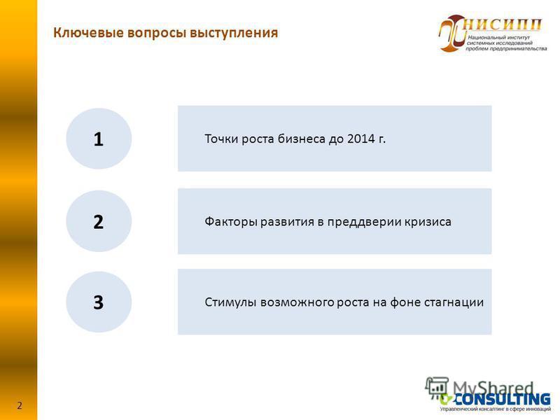 Ключевые вопросы выступления 2 Точки роста бизнеса до 2014 г. 1 Факторы развития в преддверии кризиса 2 Стимулы возможного роста на фоне стагнации 3