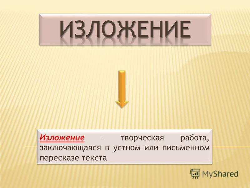 Изложение – творческая работа, заключающаяся в устном или письменном пересказе текста