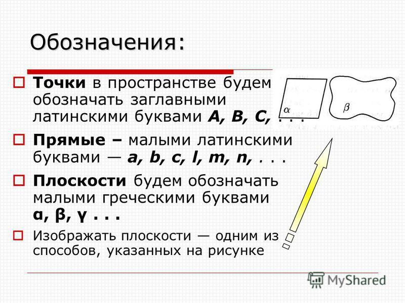 Обозначения: Точки в пространстве будем обозначать заглавными латинскими буквами А, В, С,... Прямые – малыми латинскими буквами а, b, с, l, m, n,... Плоскости будем обозначать малыми греческими буквами α, β, γ... Изображать плоскости одним из способо