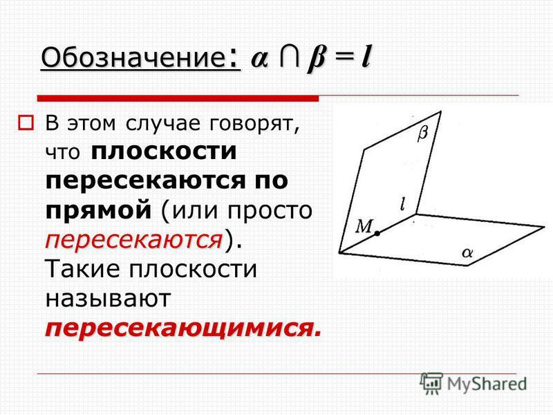 Обозначение : α β = l пересекаются пересекающимися В этом случае говорят, что плоскости пересекаются по прямой (или просто пересекаются). Такие плоскости называют пересекающимися.