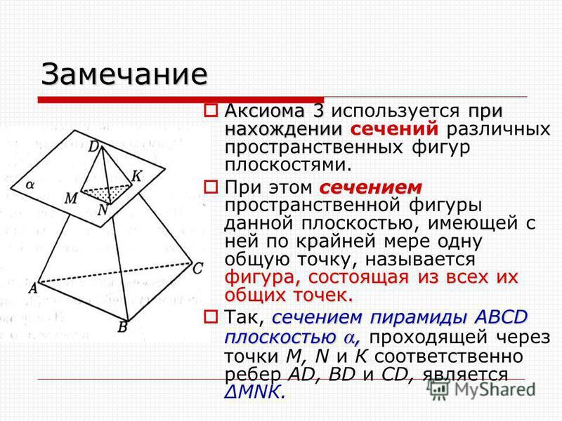 Замечание Аксиома 3 при нахождении Аксиома 3 используется при нахождении сечений различных пространственных фигур плоскостями. сечением фигура, состоящая из всех их общих точек. При этом сечением пространственной фигуры данной плоскостью, имеющей с н