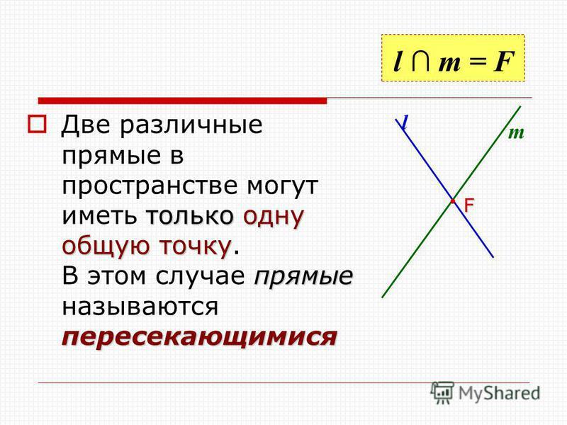 l m = F только одну общую точку прямые пересекающимися Две различные прямые в пространстве могут иметь только одну общую точку. В этом случае прямые называются пересекающимися l m F