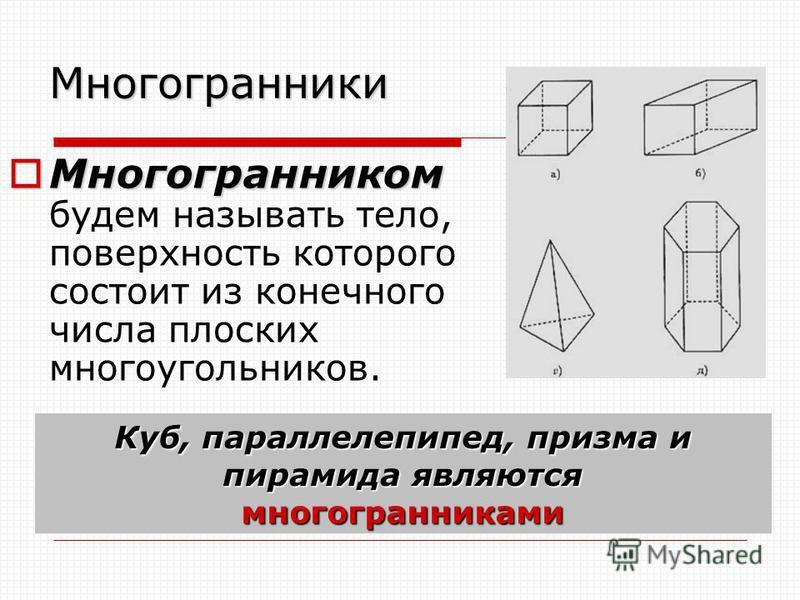 Многогранники Многогранником Многогранником будем называть тело, поверхность которого состоит из конечного числа плоских многоугольников. Куб, параллелепипед, призма и пирамида являются многогранниками