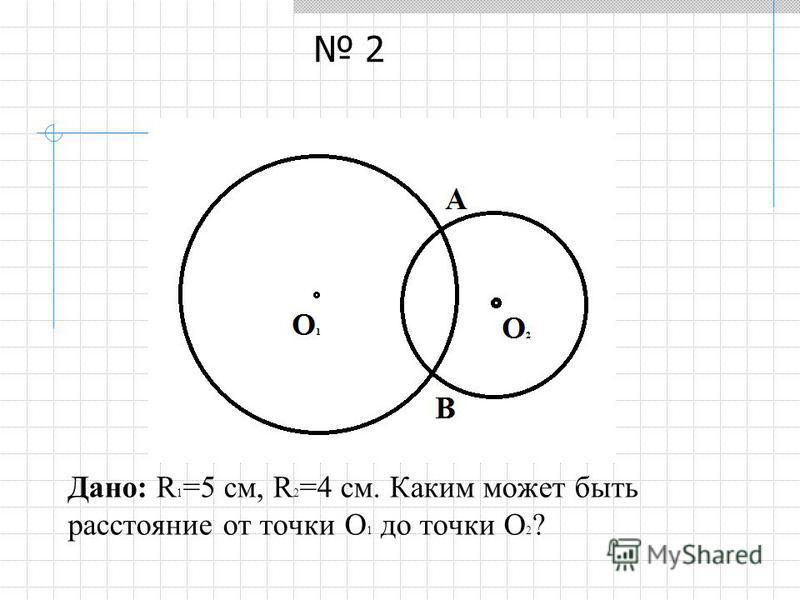 Дано: R 1 =5 см, R 2 =4 см. Каким может быть расстояние от точки О 1 до точки О 2 ? 2
