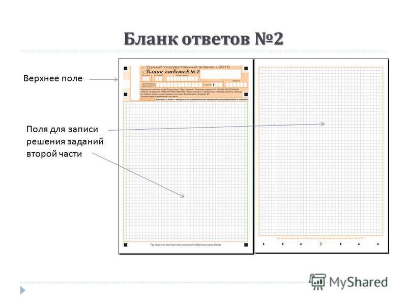 Бланк ответов 2 Верхнее поле Поля для записи решения заданий второй части