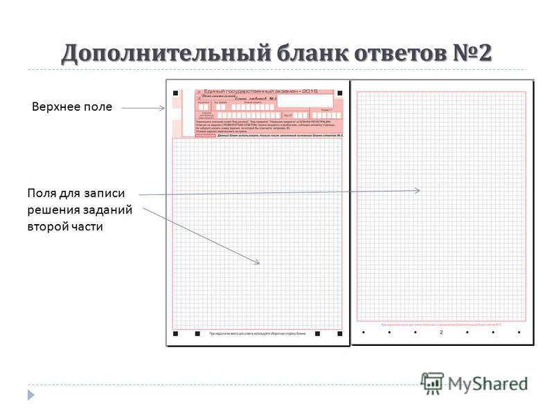 Дополнительный бланк ответов 2 Верхнее поле Поля для записи решения заданий второй части
