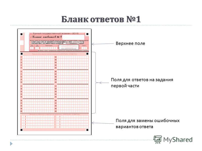 Бланк ответов 1 Верхнее поле Поля для ответов на задания первой части Поля для замены ошибочных вариантов ответа