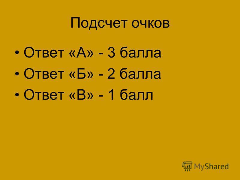 Подсчет очков Ответ «А» - 3 балла Ответ «Б» - 2 балла Ответ «В» - 1 балл