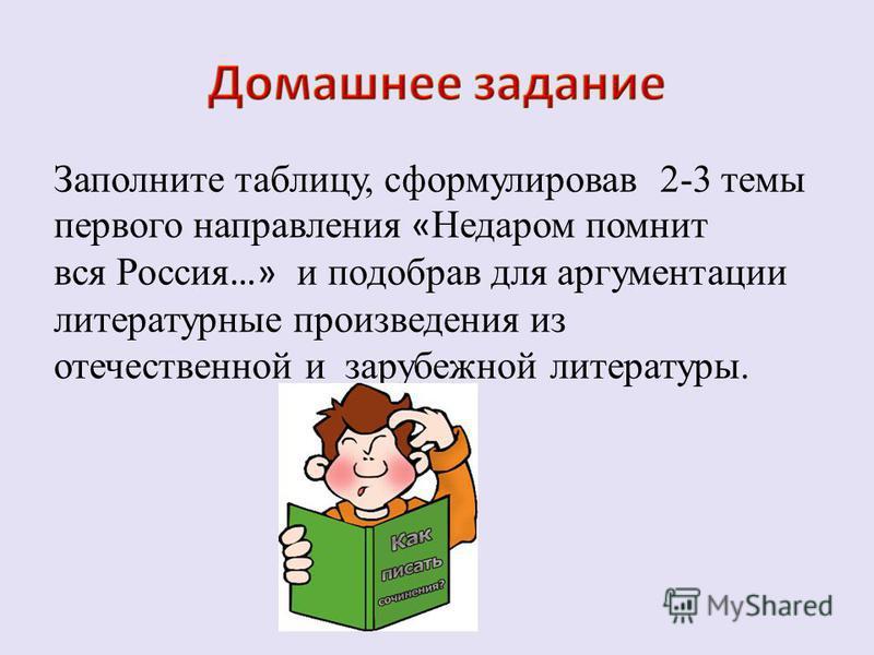 Заполните таблицу, сформулировав 2-3 темы первого направления « Недаром помнит вся Россия …» и подобрав для аргументации литературные произведения из отечественной и зарубежной литературы.