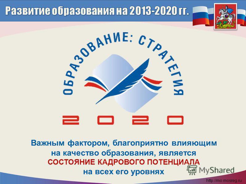 http://mo.mosreg.ru Важным фактором, благоприятно влияющим на качество образования, является СОСТОЯНИЕ КАДРОВОГО ПОТЕНЦИАЛА на всех его уровнях Важным фактором, благоприятно влияющим на качество образования, является СОСТОЯНИЕ КАДРОВОГО ПОТЕНЦИАЛА на
