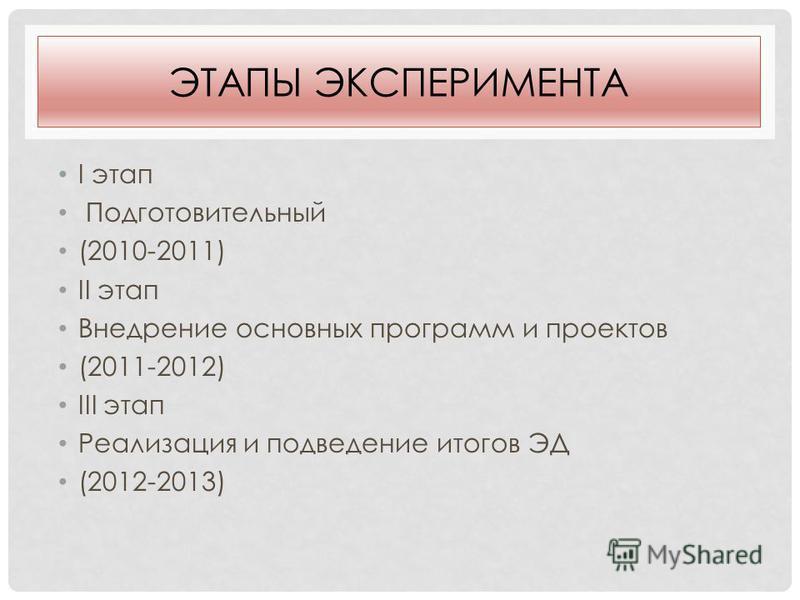 ЭТАПЫ ЭКСПЕРИМЕНТА I этап Подготовительный (2010-2011) II этап Внедрение основных программ и проектов (2011-2012) III этап Реализация и подведение итогов ЭД (2012-2013)