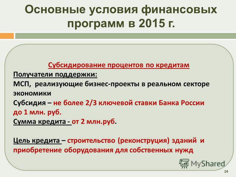 Основные условия финансовых программ в 2015 г. 14 Субсидирование процентов по кредитам Получатели поддержки : МСП, реализующие бизнес - проекты в реальном секторе экономики Субсидия – не более 2/3 ключевой ставки Банка России до 1 млн. руб. Сумма кре