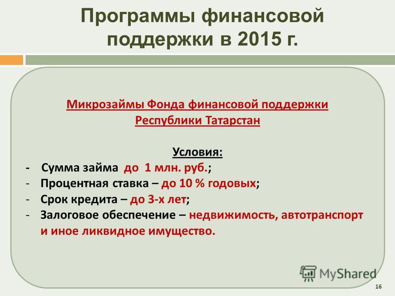Программы финансовой поддержки в 2015 г. 16 Микрозаймы Фонда финансовой поддержки Республики Татарстан Условия : - Сумма займа до 1 млн. руб.; - Процентная ставка – до 10 % годовых ; - Срок кредита – до 3- х лет ; - Залоговое обеспечение – недвижимос