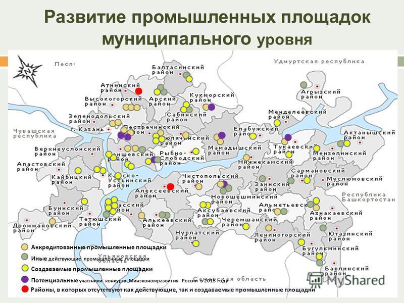 Развитие промышленных площадок муниципального уровня 6 Потенциальные участники конкурса Минэкономразвития России в 2015 году Аккредитованные промышленные площадки Иные действующие промышленные площадки Создаваемые промышленные площадки Районы, в кото