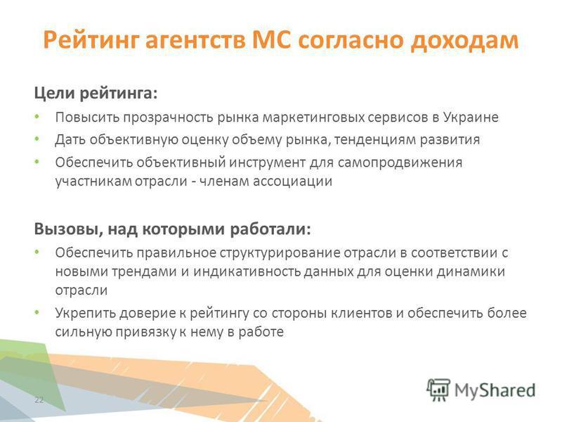 Рейтинг агентств МС согласно доходам Цели рейтинга: Повысить прозрачность рынка маркетинговых сервисов в Украине Дать объективную оценку объему рынка, тенденциям развития Обеспечить объективный инструмент для самопродвижения участникам отрасли - член