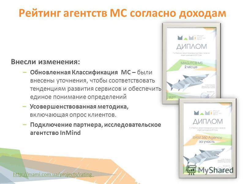 Рейтинг агентств МС согласно доходам http://mami.com.ua/projects/rating Внесли изменения: –Обновленная Классификация МС – были внесены уточнения, чтобы соответствовать тенденциям развития сервисов и обеспечить единое понимание определений –Усовершенс