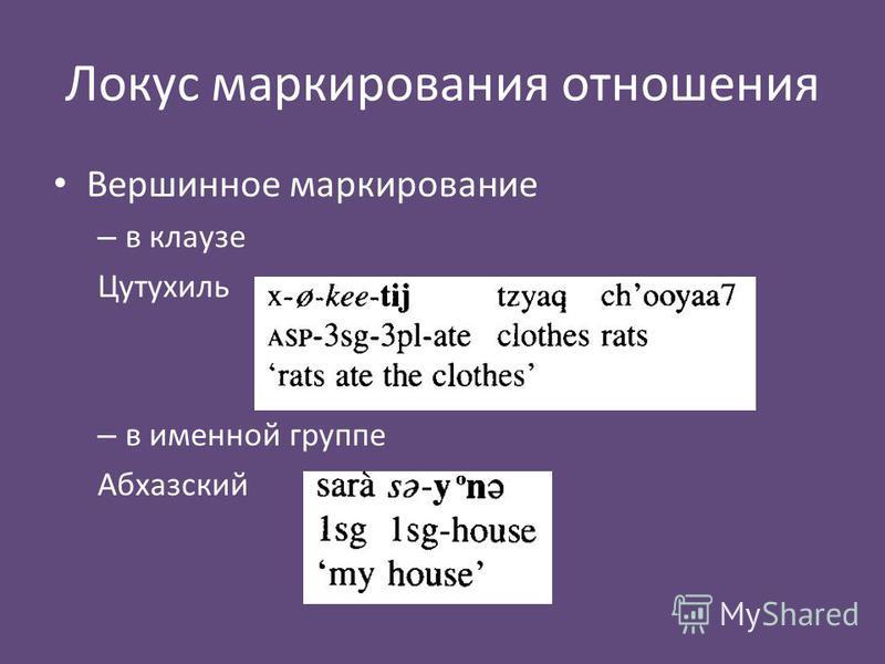 Локус маркирования отношения Вершинное маркирование – в клаузе Цутухиль – в именной группе Абхазский