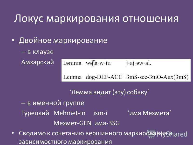 Локус маркирования отношения Двойное маркирование – в клаузе Амхарский Лемма видит (эту) собаку – в именной группе Турецкий Mehmet-in ism-iимя Мехмета Мехмет-GEN имя-3SG Сводимо к сочетанию вершинного маркирования и зависимость него маркирования