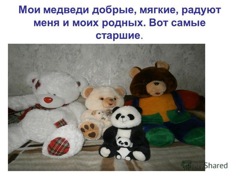 Мои медведи добрые, мягкие, радуют меня и моих родных. Вот самые старшие.