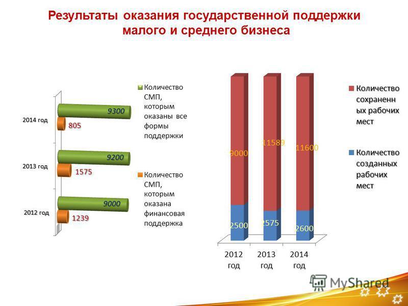 Результаты оказания государственной поддержки малого и среднего бизнеса