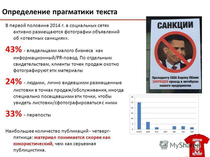 Определение прагматики текста В первой половине 2014 г. в социальных сетях активно размещаются фотографии объявлений об «ответных санкциях». 43% - владельцами малого бизнеса как информационный/PR-повод. По отдельным свидетельствам, клиенты точек прод