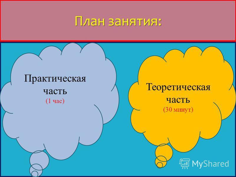 План занятия: Теоретическая часть (30 минут) Практическая часть (1 час)
