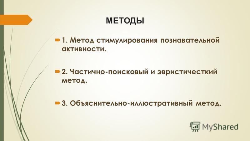 МЕТОДЫ 1. Метод стимулирования познавательной активности. 2. Частично-поисковый и эвристический метод. 3. Объяснительно-иллюстративный метод.