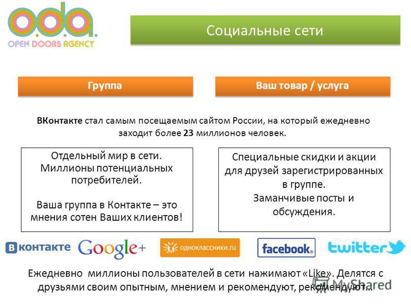 Социальные сети ВКонтакте стал самым посещаемым сайтом России, на который ежедневно заходит более 23 миллионов человек. Группа Ваш товар / услуга Специальные скидки и акции для друзей зарегистрированных в группе. Заманчивые посты и обсуждения. Отдель