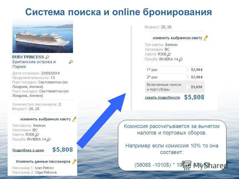 Система поиска и online бронирования Комиссия рассчитывается за вычетом налогов и портовых сборов. Например если комиссия 10% то она составит: (5808$ -1010$) * 10% = 478.8$