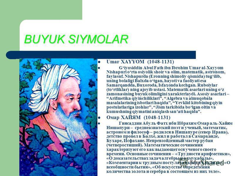 BUYUK SIYMOLAR Umar XAYYOM (1048-1131) Giyosiddin Abul Fath ibn Ibrohim Umar al-Xayyom Nishapuri orta osiyolik shoir va olim, matematik, astronom, faylasuf. Nishapurda (Eronning shimoliy qismida) tugilib, uning bolaligi Balxda otgan, hayoti va faoliy