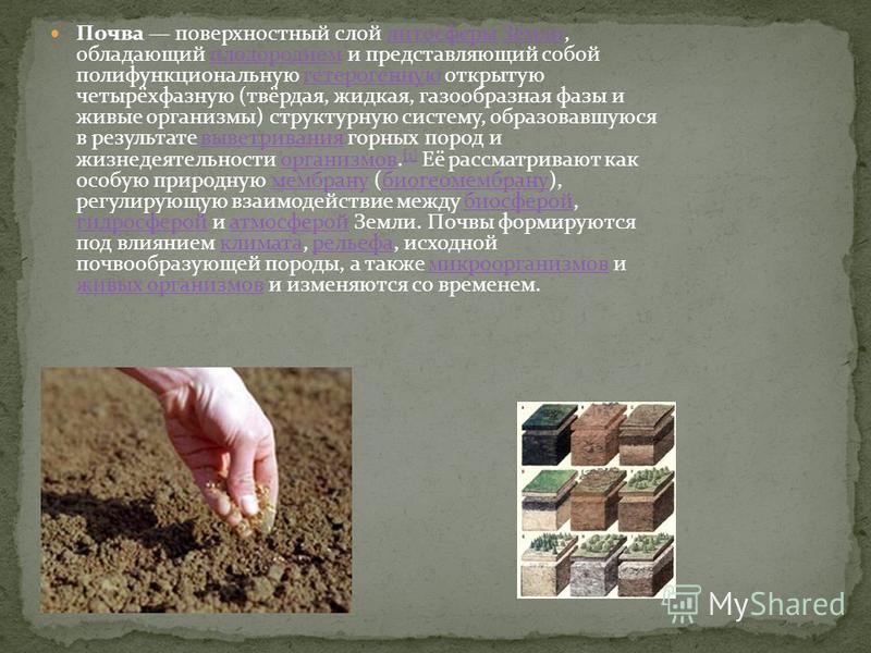 Почва поверхностный слой литосферы Земли, обладающий плодородием и представляющий собой полифункциональную гетерогенную открытую четырёхфазную (твёрдая, жидкая, газообразная фазы и живые организмы) структурную систему, образовавшуюся в результате выв