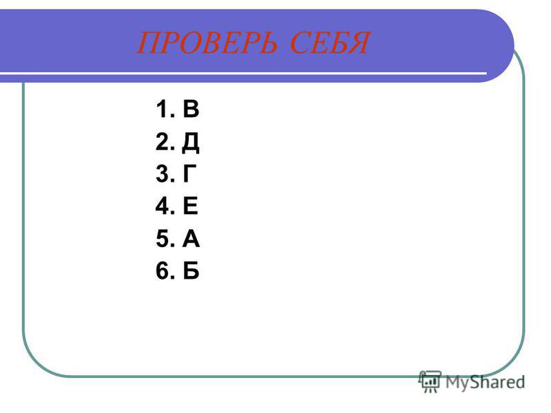 ПРОВЕРЬ СЕБЯ 1. В 2. Д 3. Г 4. Е 5. А 6. Б