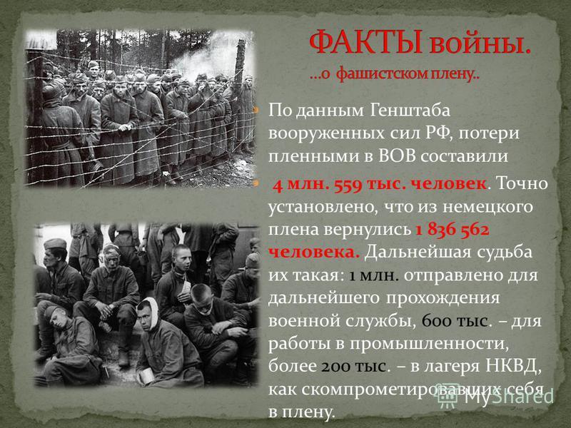 По данным Генштаба вооруженных сил РФ, потери пленными в ВОВ составили 4 млн. 559 тыс. человек. Точно установлено, что из немецкого плена вернулись 1 836 562 человека. Дальнейшая судьба их такая: 1 млн. отправлено для дальнейшего прохождения военной