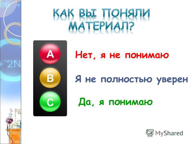 Нет, я не понимаю Я не полностью уверен Да, я понимаю А В С
