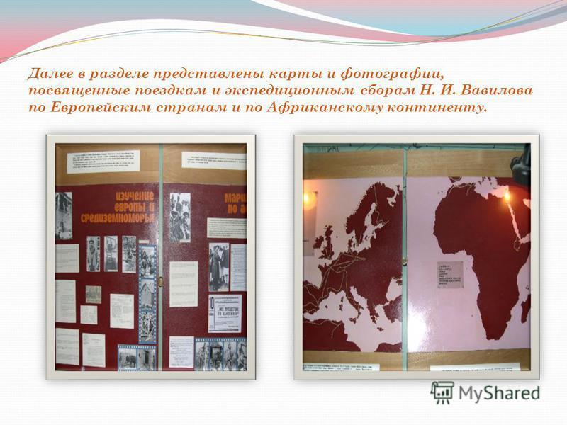 Далее в разделе представлены карты и фотографии, посвященные поездкам и экспедиционным сборам Н. И. Вавилова по Европейским странам и по Африканскому континенту.