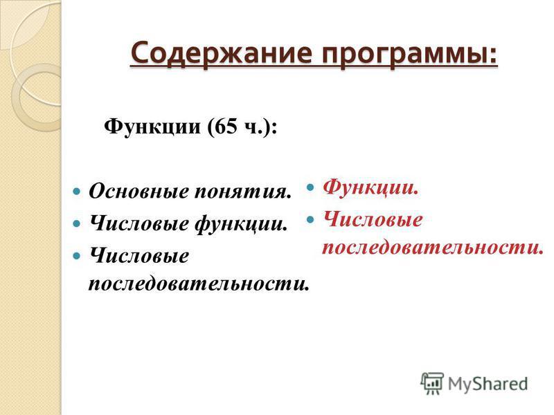 Содержание программы : Функции (65 ч.): Основные понятия. Числовые функции. Числовые последовательности. Функции. Числовые последовательности.