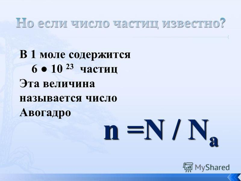 В 1 моле содержится 6 10 23 частиц Эта величина называется число Авогадро n =N / N a
