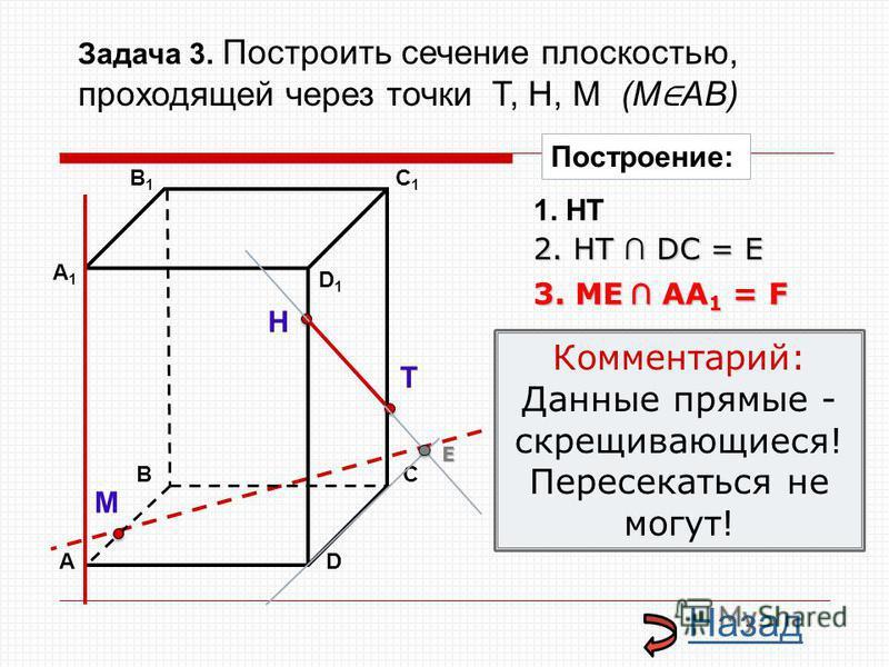 АD В1В1 ВС А1А1 C1C1 D1D1 Н Т М Построение: 1. НТ 3. ME AA 1 = F 2. НТ DС = E E Назад Комментарий: Данные прямые - скрещивающиеся! Пересекаться не могут! Задача 3. Построить сечение плоскостью, проходящей через точки Т, Н, М (М АВ)