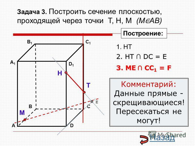 АD В1В1 ВС А1А1 C1C1 D1D1 Н Т М Построение: 1. НТ 3. ME CC 1 = F 2. НТ DС = E E Назад Комментарий: Данные прямые - скрещивающиеся! Пересекаться не могут! Задача 3. Построить сечение плоскостью, проходящей через точки Т, Н, М (М АВ)