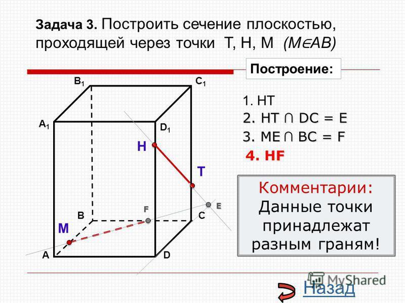 АD В1В1 ВС А1А1 C1C1 D1D1 Н Т М Построение: 1. НТ 2. НТ DС = E E 3. ME ВС = F F F 4. НF Комментарии: Данные точки принадлежат разным граням! Назад Задача 3. Построить сечение плоскостью, проходящей через точки Т, Н, М (М АВ)