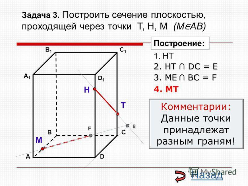АD В1В1 ВС А1А1 C1C1 D1D1 Н Т М Построение: 1. НТ 2. НТ DС = E E 3. ME ВС = F F 4. MT Комментарии: Данные точки принадлежат разным граням! Назад Задача 3. Построить сечение плоскостью, проходящей через точки Т, Н, М (М АВ)